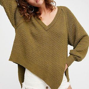 FREE PEOPLE West Coast Asymmetrical V Neck Sweater